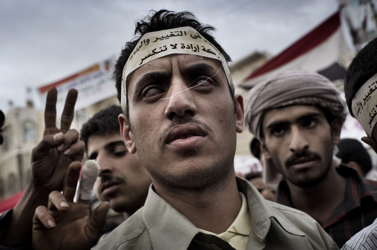 A blind protester attends a demonstration at Change Square in Sana'a, May 16, 2011.