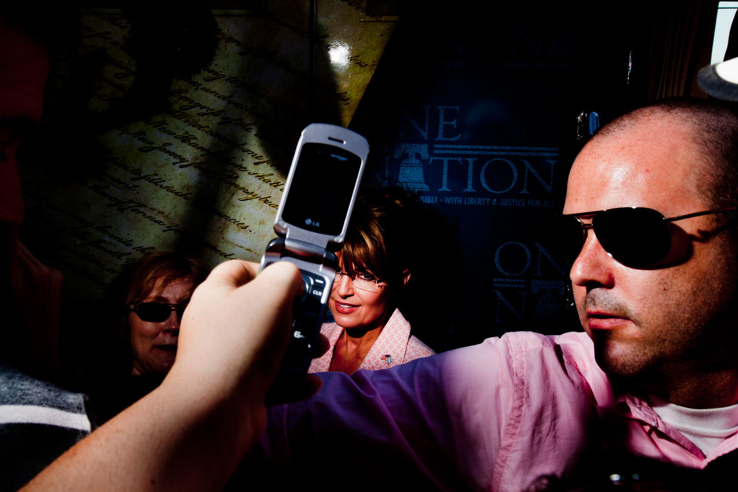 Sarah Palin and a staff member, right, talks to fans during her visit to Gettysburg, PA, Tuesday, May 31, 2011.