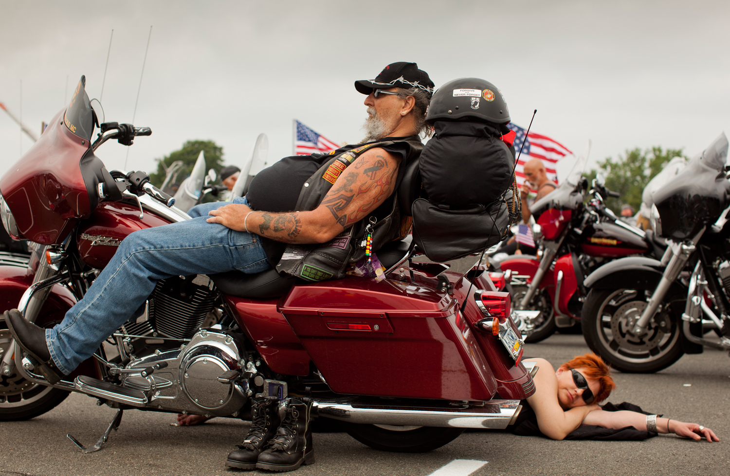 Bikers waiting for the start of the Rolling Thunder rally in Washington, DC. Sunday, May 29, 2011.