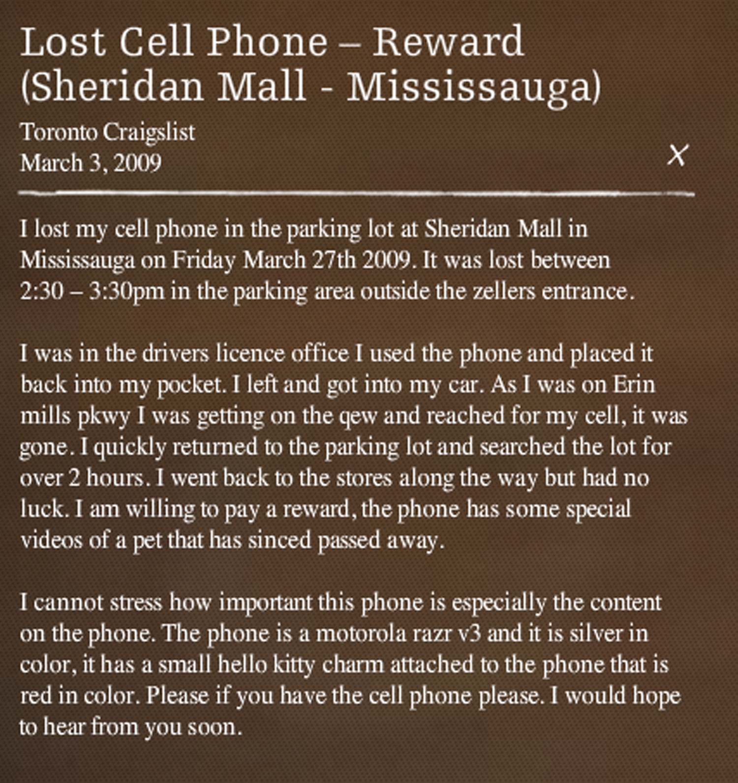 A screen capture from Please Call Very Sentimental by Alicia Smith. A piece that looks at the messages of people looking for lost photographs on Craigslist.