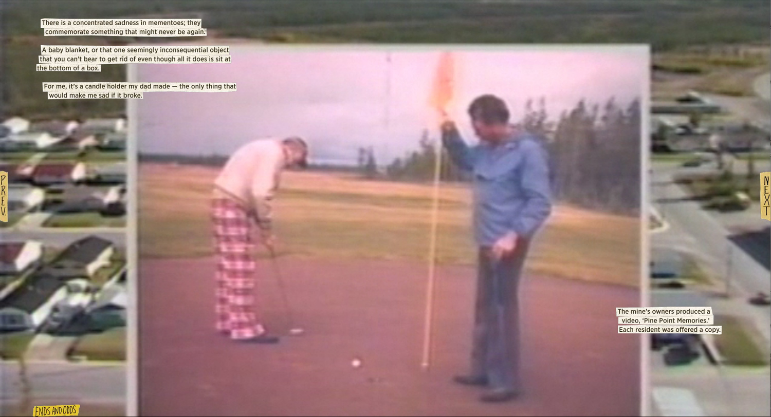 The extensive site shows the town as it was remembered by its residents in photos and video. A screen capture shows the layering of the two mediums in a part about the Pine Point golf course.