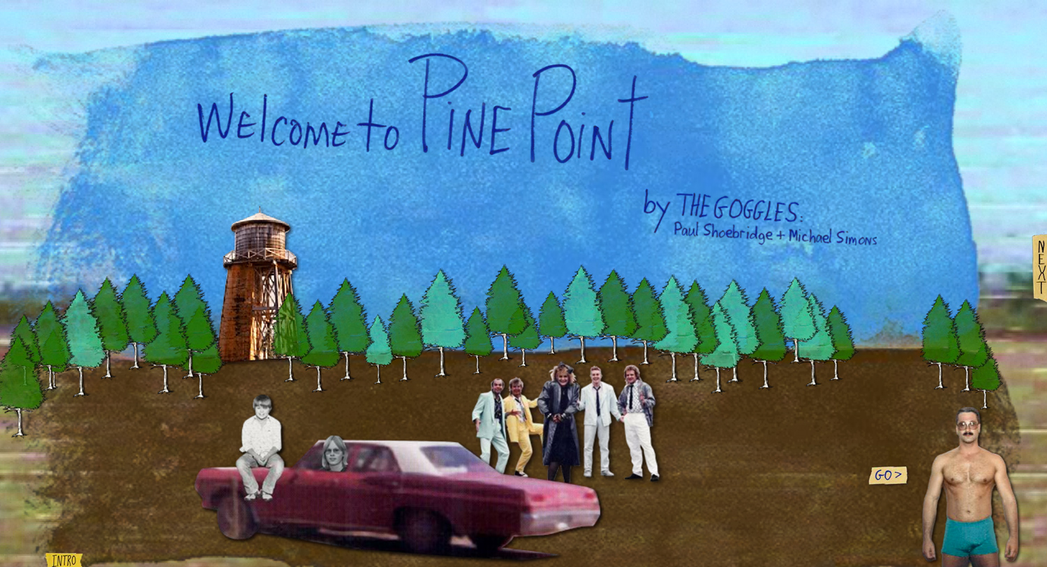 The home page of Welcome to Pine Point, created with archival photographs from the town's former residents.