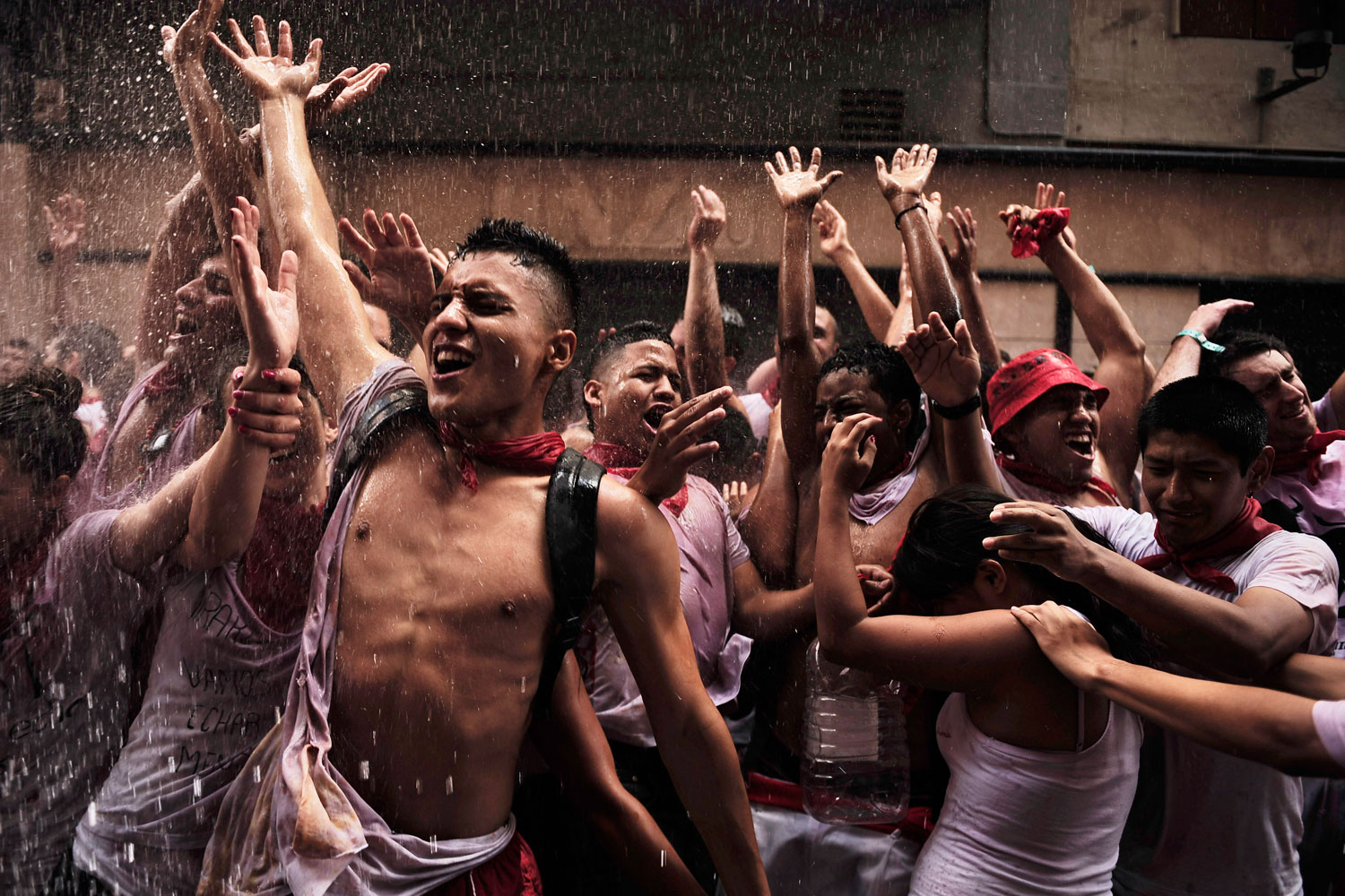 July 6, 2011. Revelers celebrate the Chupinazo—the official start of the San Fermín fiestas in Pamplona, Spain.. The festival, which was glorified in Ernest Hemingway's 1926 novel The Sun Also Rises, is known around the world for the daily running of the bulls.