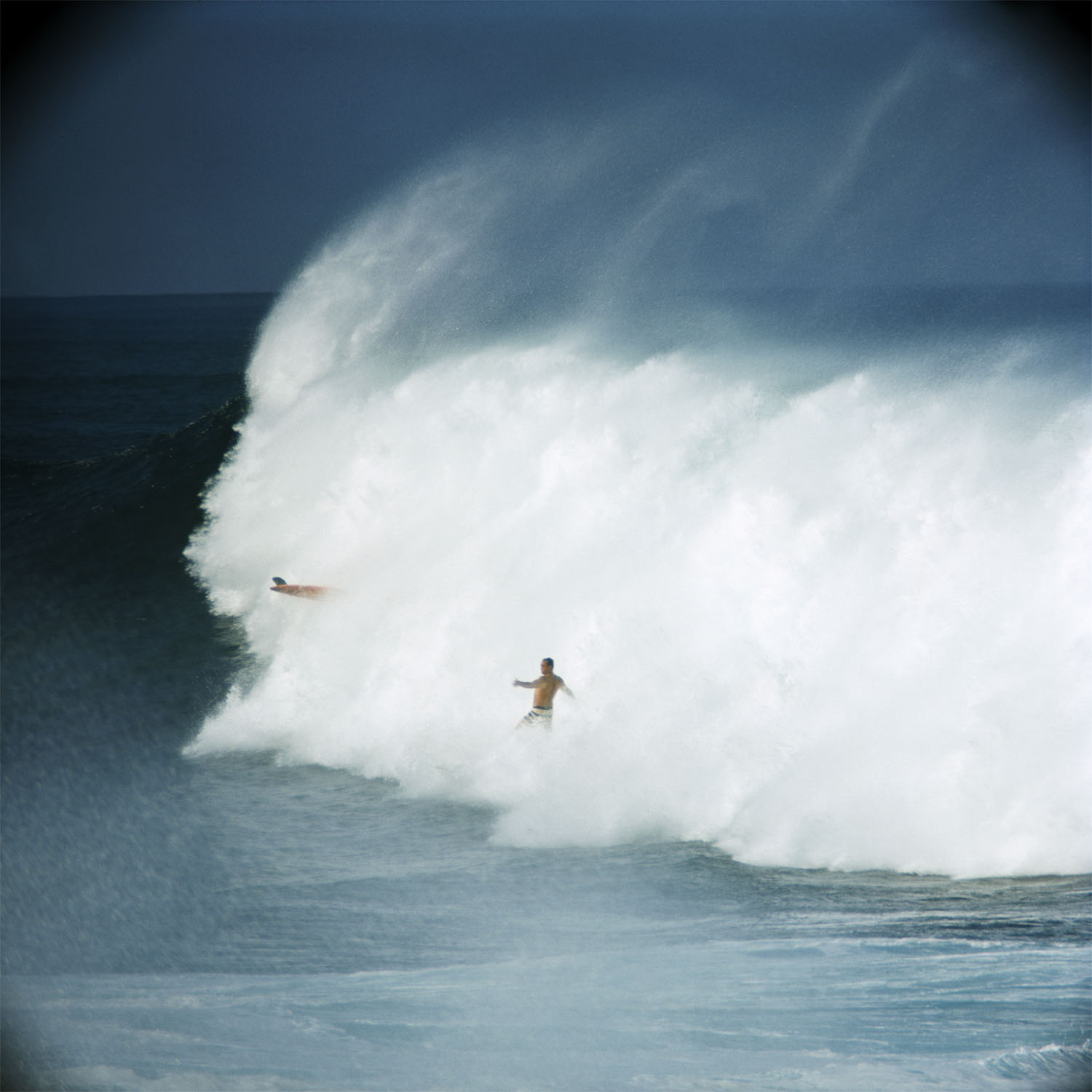 Bobby Cloutier and Greg Noll, Waimea Bay, 1966