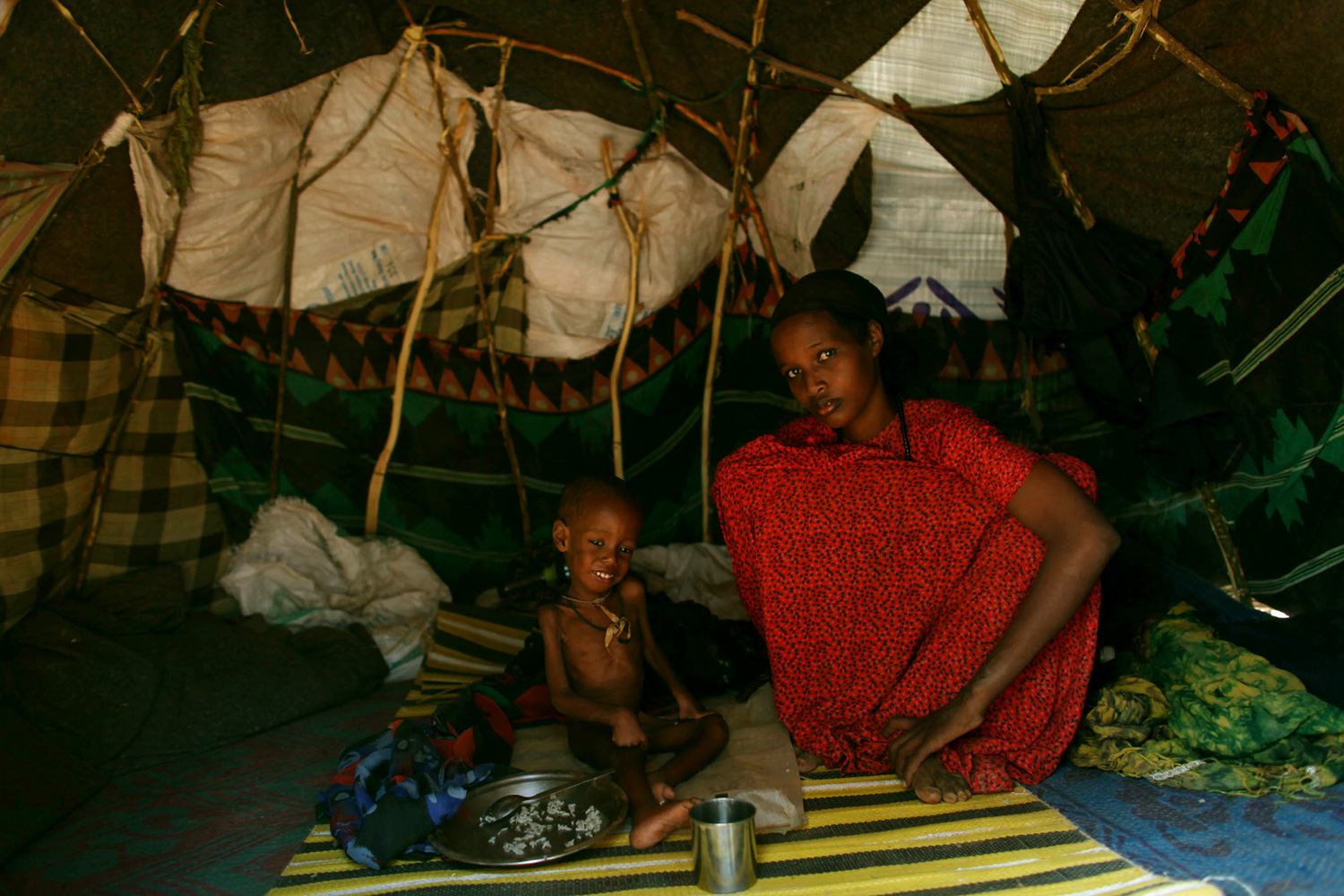 Arriving from Somalia, Ali Noor Gheddo (two years old) has lived in Dadaab Camp for 16 days.