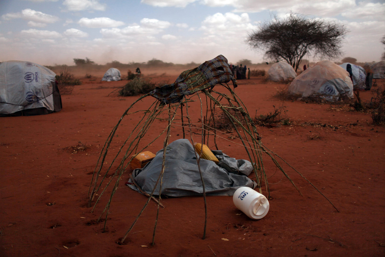 A makeshift shelter in the Dadaab refugee complex.