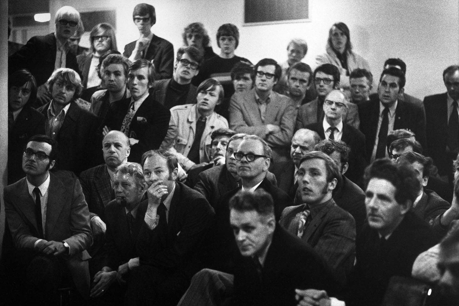 A crowd watches the Fischer and Spassky battle on a television screen in Iceland, 1972