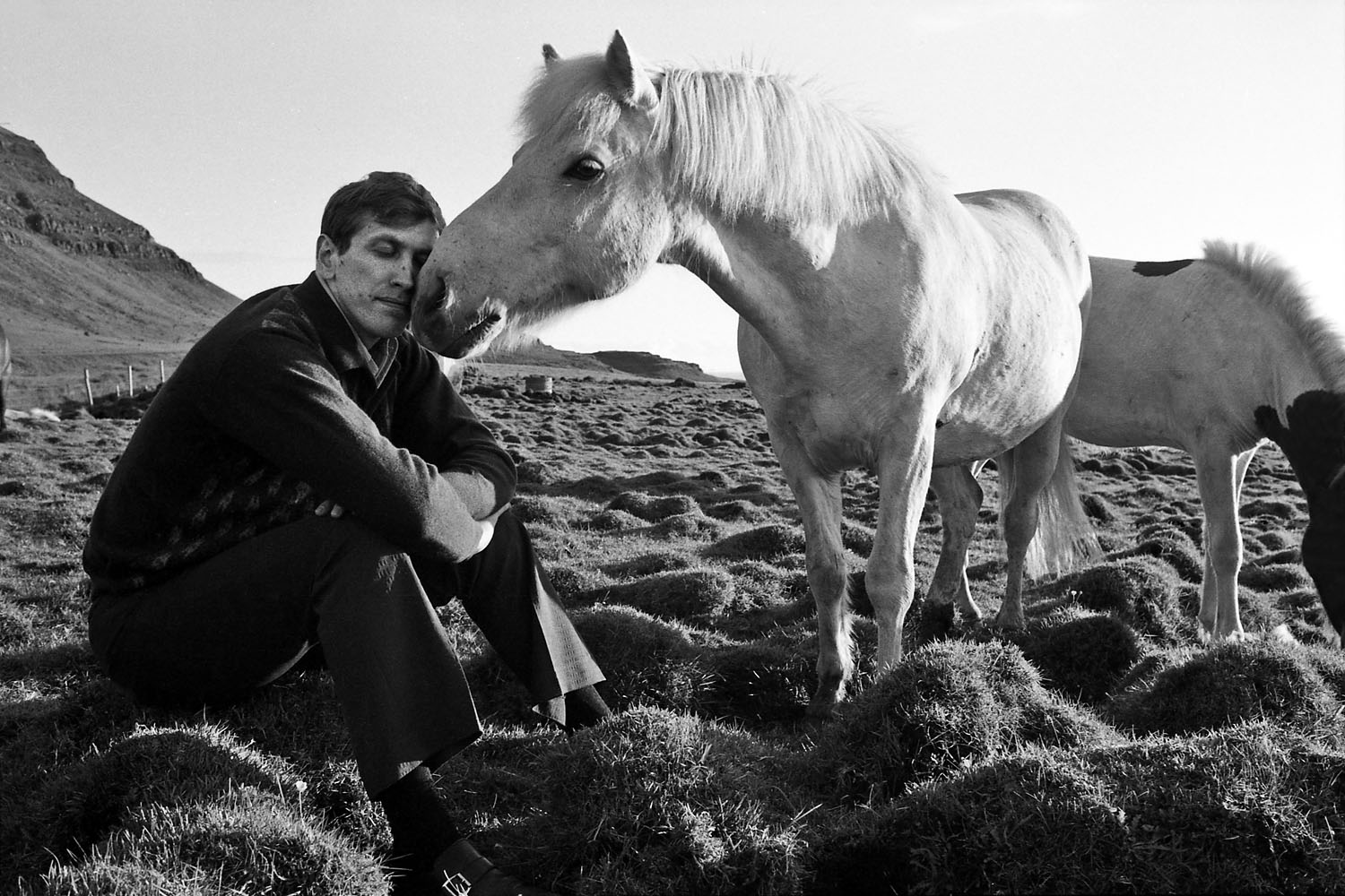 Nuzzling a horse in a lava field, Iceland, 1972