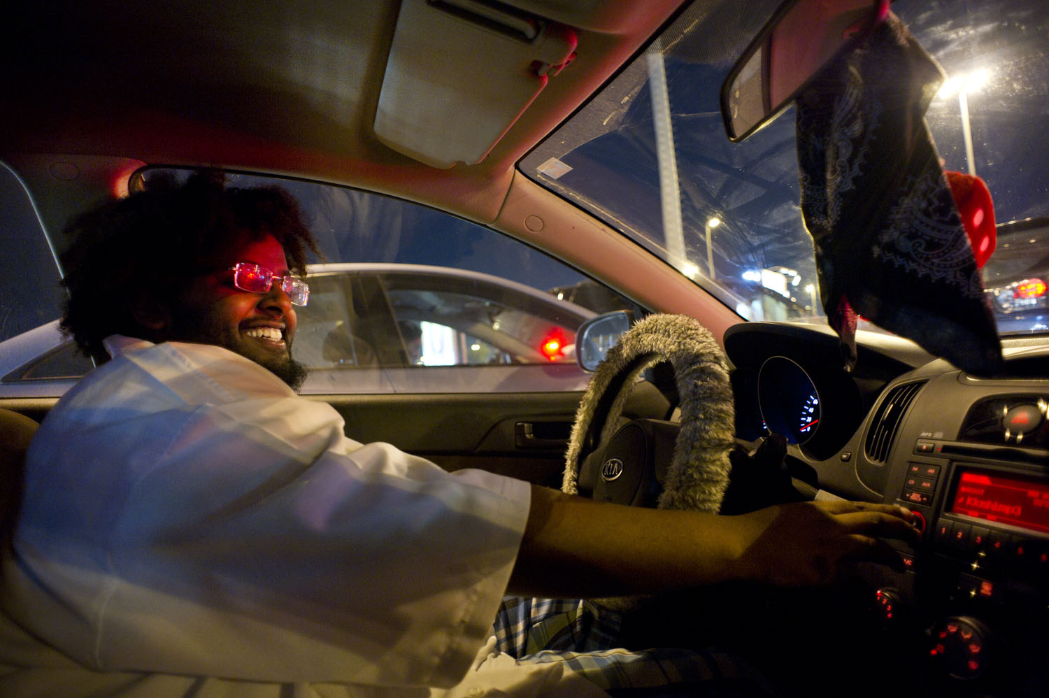 Saudi Hip Hop artist Joe Werede rides around listening to his latest album in Jeddah, Saudi Arabia, June 15, 2011. Joe is part of a very small group of Saudi musicians in the country. Their group, named Black R, has already sold 95,000 albums in and around the Kingdom.