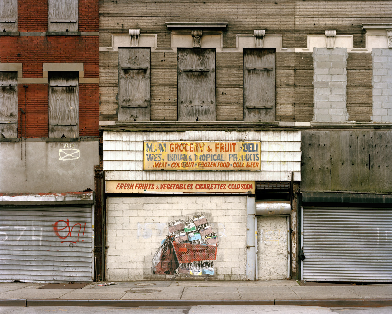Closed Grocery Store On Block Lined With Vacant BuildingsLooking South From Fulton Street & Garvey Avenue, Brooklyn, 2009