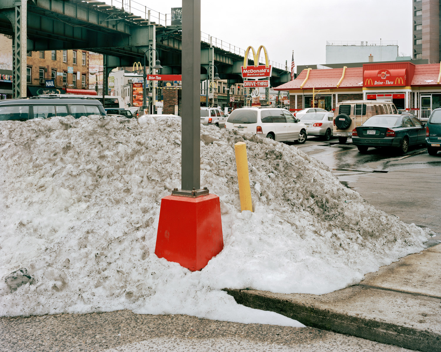 Snow Pile In McDonald's Parking Lot Looking Northeast From Whipple Street & Broadway, Brooklyn, 2010