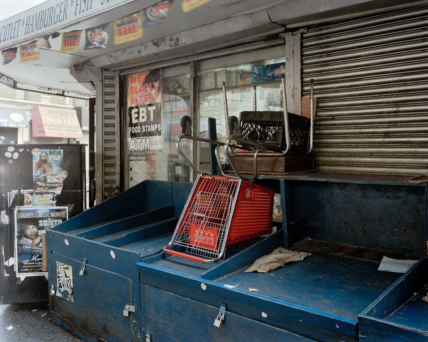 Upside Down Shopping Cart On Empty Vegetable Stand Looking East From Jerome Avenue & East Burnside Avenue, Bronx, 2009