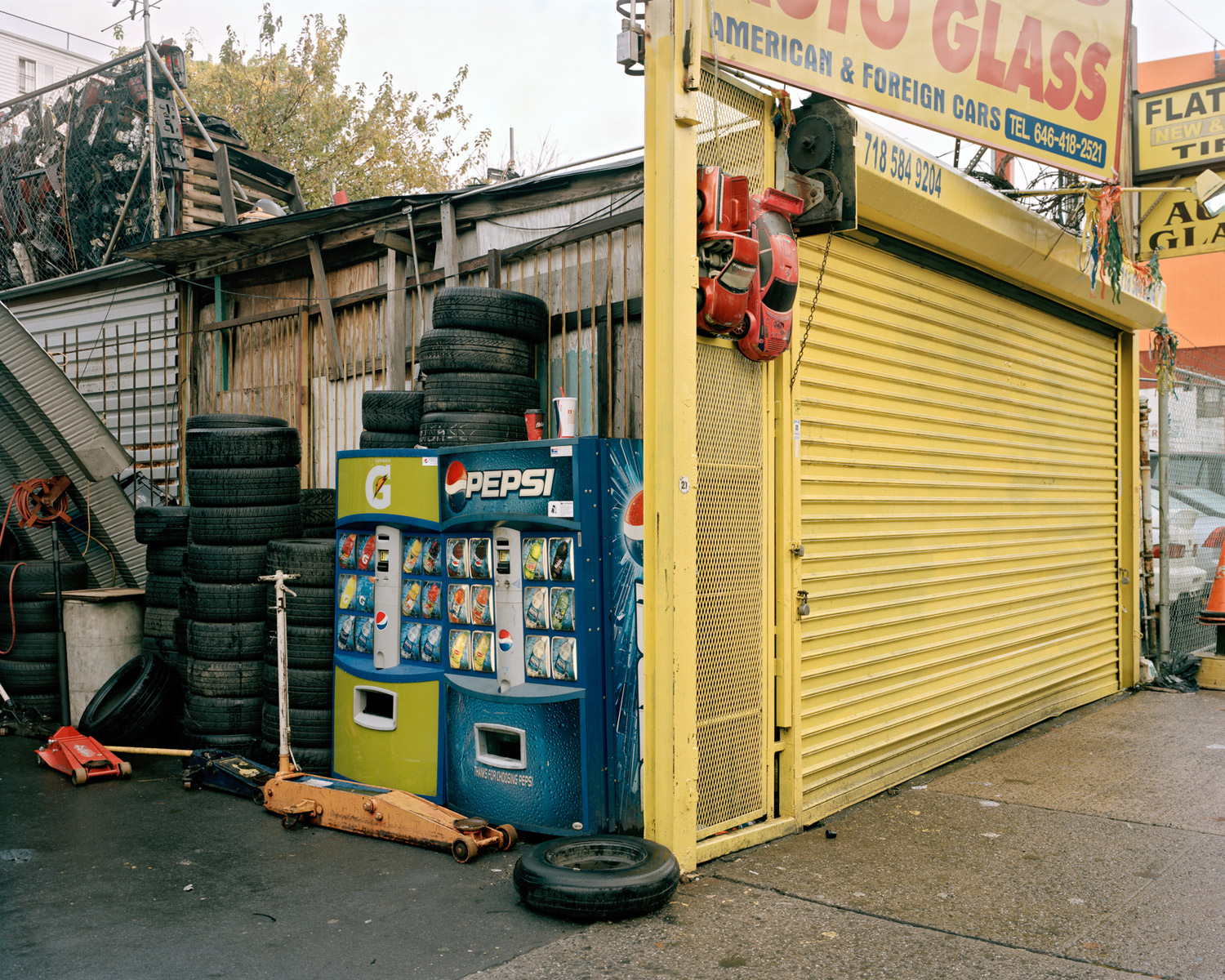 Soda Machine at Tire Shop Looking North from Jerome Avenue & West 181st Street, Bronx, 2009