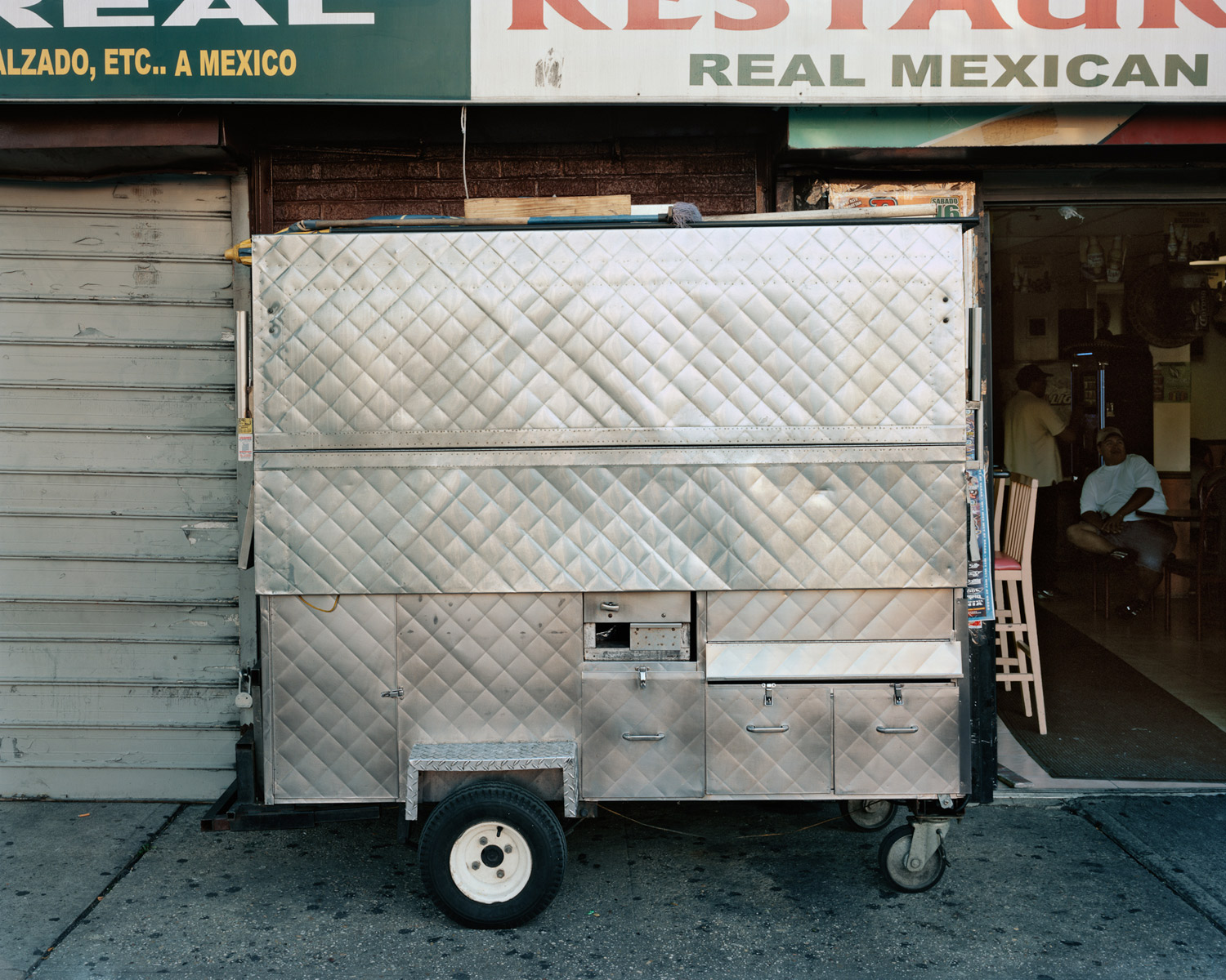 Food Cart In Front Of Mexican Restaurant Looking West From Grand Concourse & Field Place, Bronx, 2010