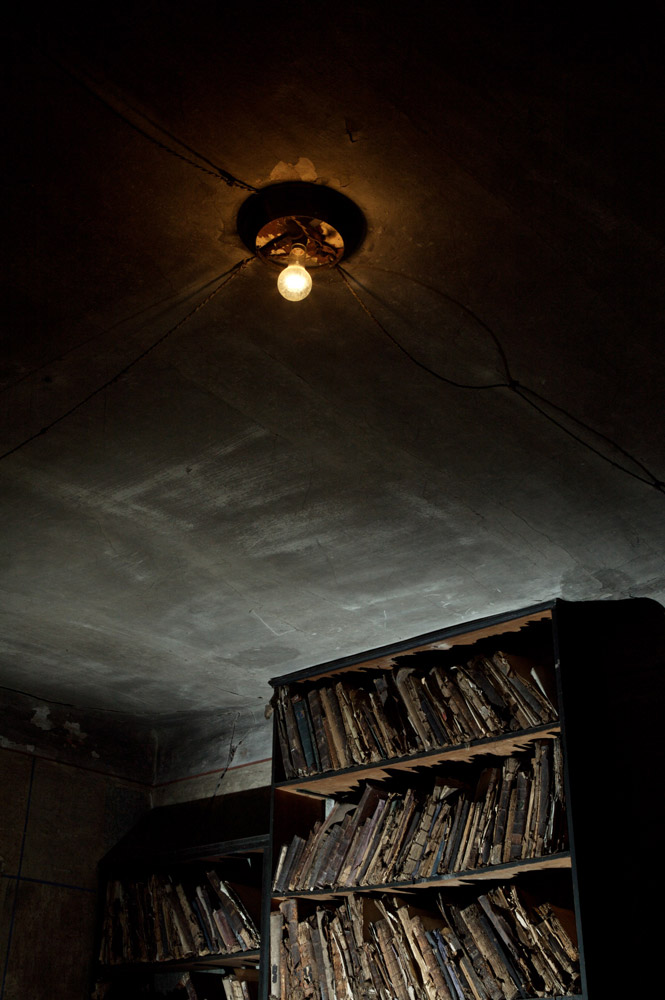 Shelves of children's books left behind in a classroom  in Bardejov in 1942, were discovered by Yuri Dojc in March 2006