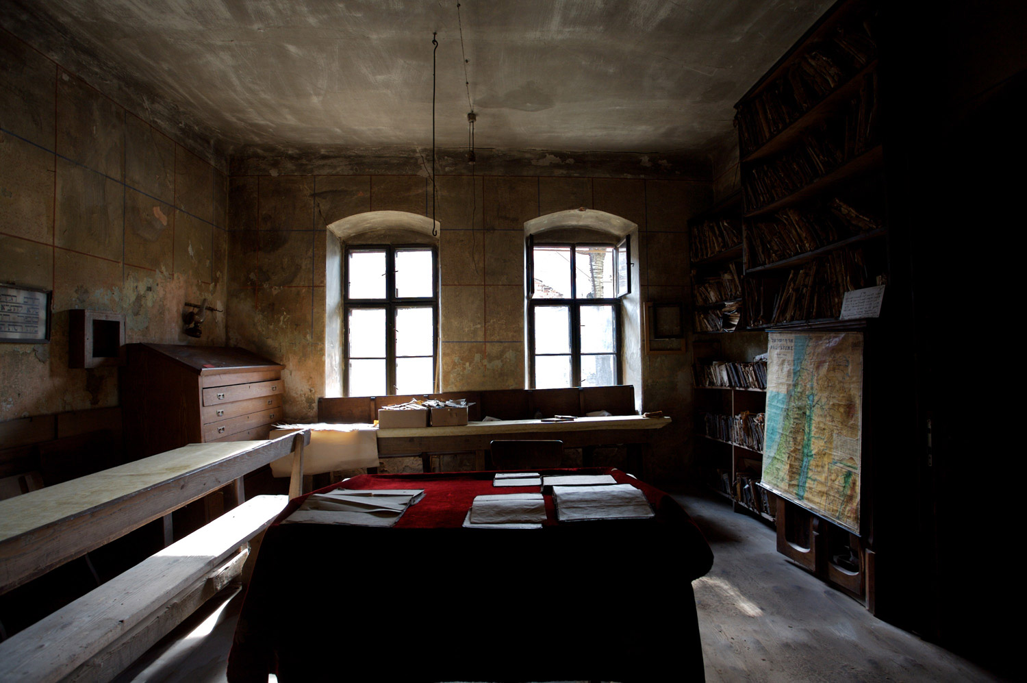 A school room as it was first discovered by Dojc and Krausova in March, 2006