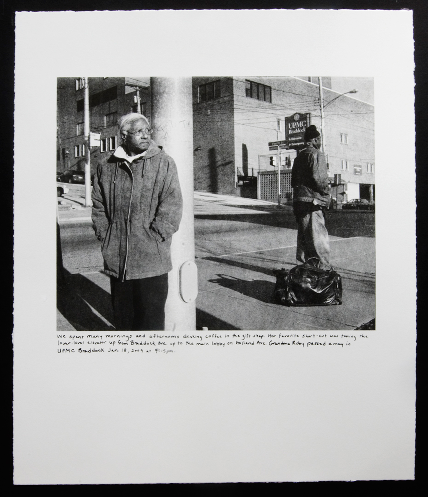 On view at the Whitney Biennial 2012.<em>Grandma Ruby and U.P.M.C.</em>, 2011. From the series <em>Campaign for Braddock Hospital (Save Our Community Hospital)</em>.