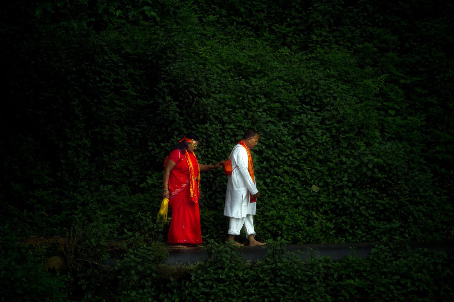 August 1, 2011. Nepalese Hindu pilgrims, also known as Bolboms, walk in the forest during a procession to worship Lord Shiva, the god of creation and destruction, at Sundarijal village, Nepal. Scores of Hindu devotees from all over the Nepal and neighboring country India gathered in the northern holy city Sundarijal, 22 km from the capital Kathmandu where they collect water claimed to be holy.
