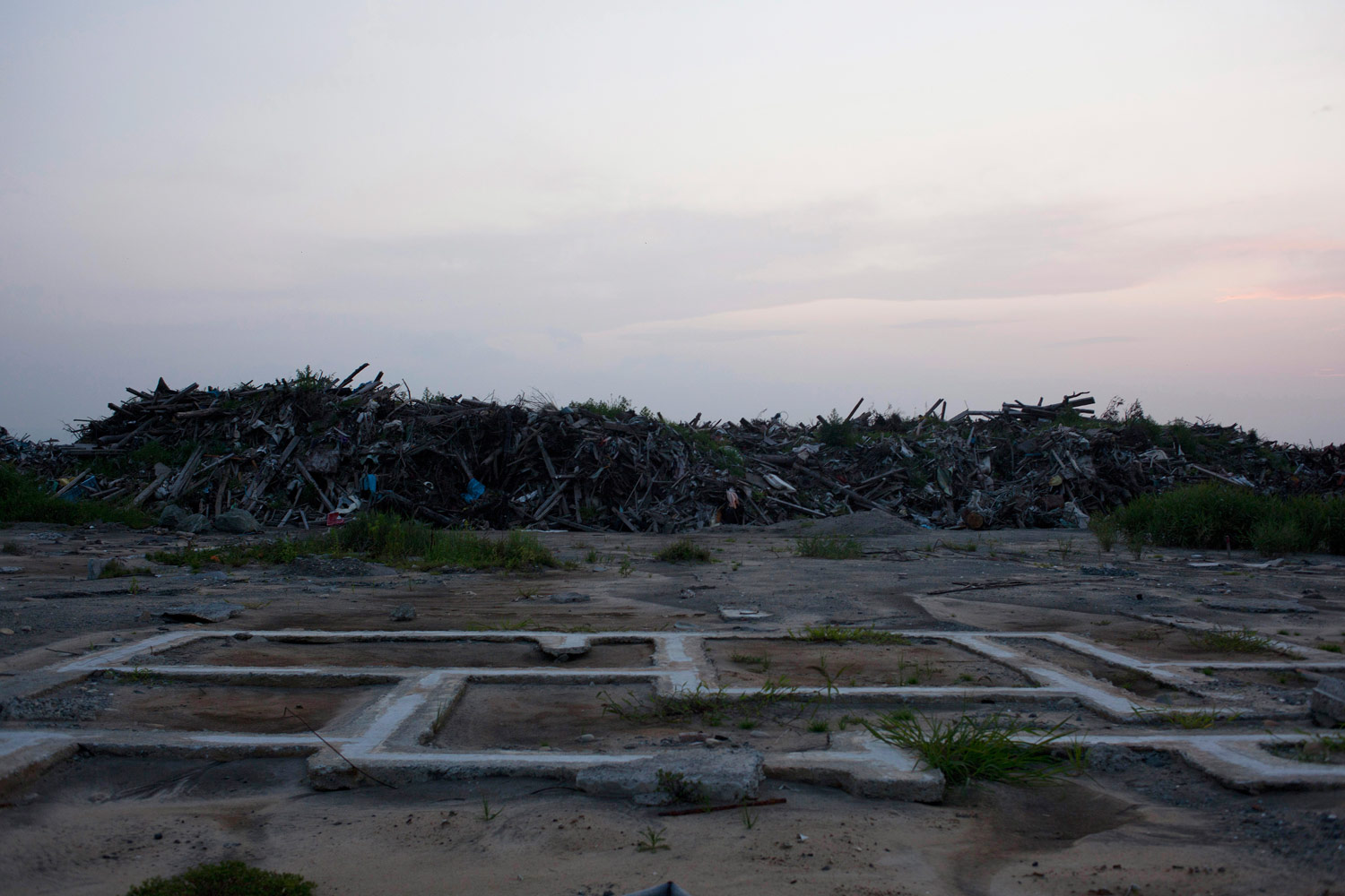 Rubble and debris line the streets of Minamisoma, August 12, 2011.