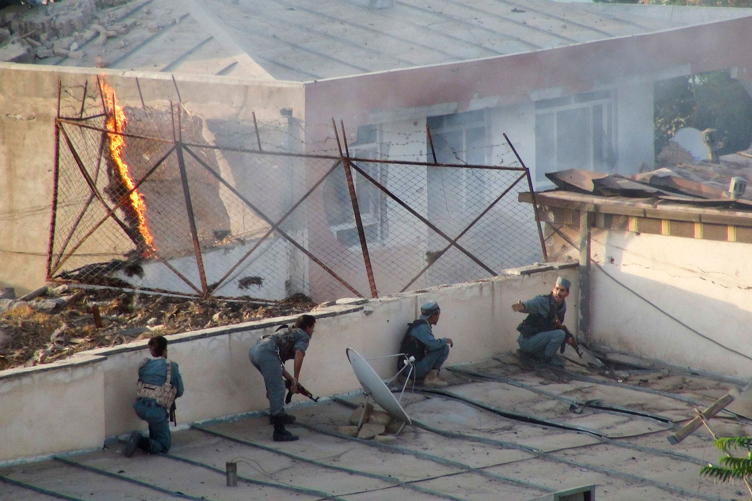 August 2, 2011. Police fight suicide attackers who took over a guesthouse in Kunduz province. Three suicide bombers raided a guesthouse frequented by foreigners in the northern Afghan province of Kunduz, killing four Afghan security guards.