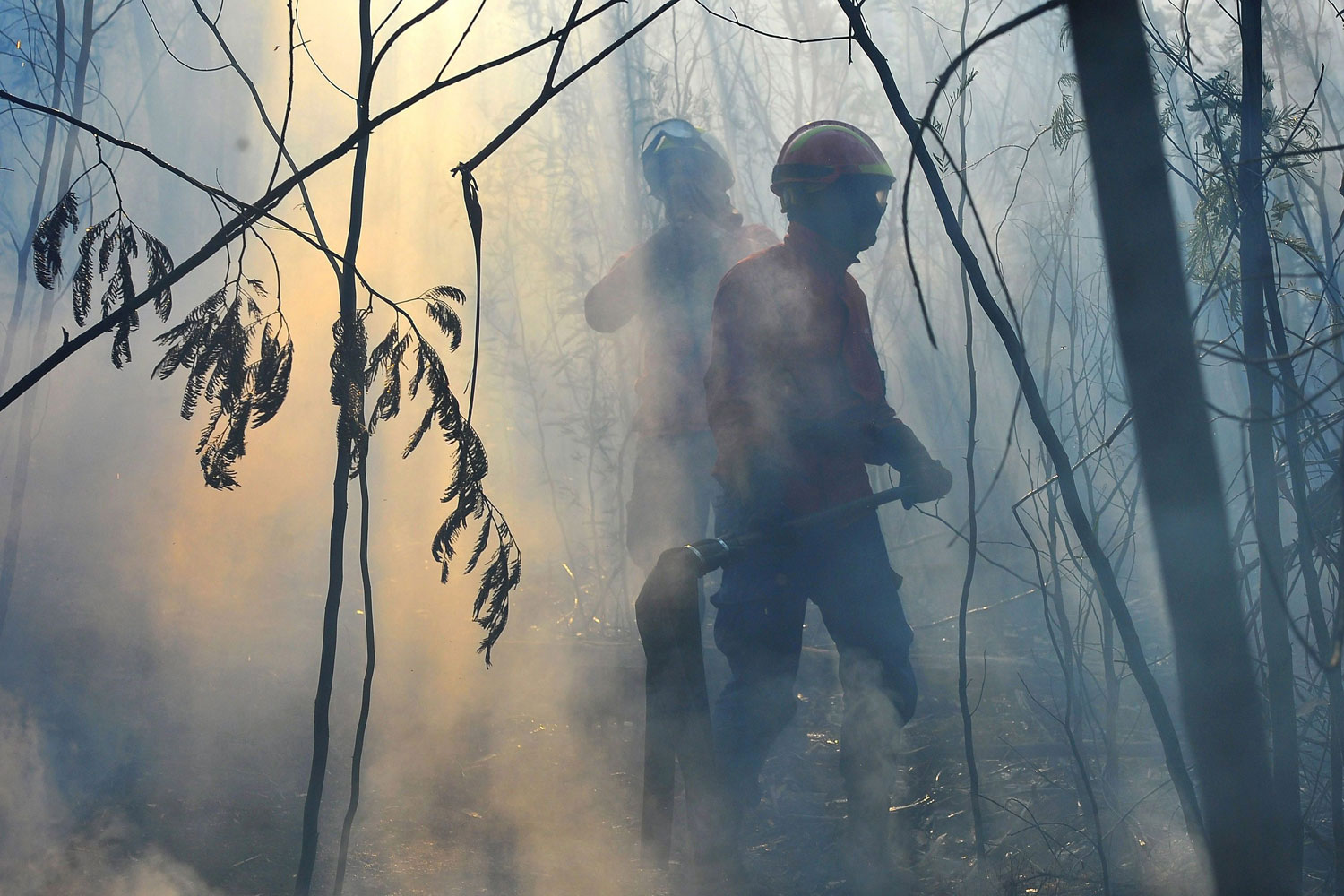July 30, 2011. Firemen try to extinguish a forest fire in a forest at Nelas, central Portugal, that restarted after it was thought to be extinguished on 28 July 2011.