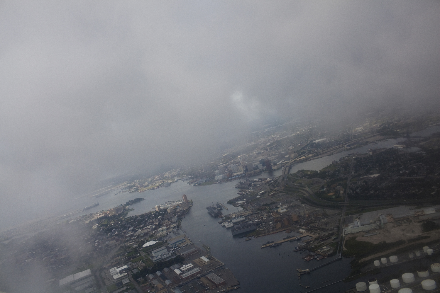 August 26, 2011, Norfolk, Virginia. An aerial view of Norfolk on Friday, as early storm clouds gather while Hurricane Irene approaches.