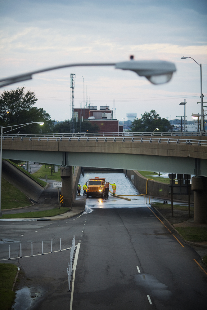 August 28, 2011, Portsmouth, Virginia. Workers begin to drain the Midtown Tunnel, a primary artery to Portsmouth, early on Sunday morning. The tunnel flooded during Hurricane Irene but was functional again by the afternoon.