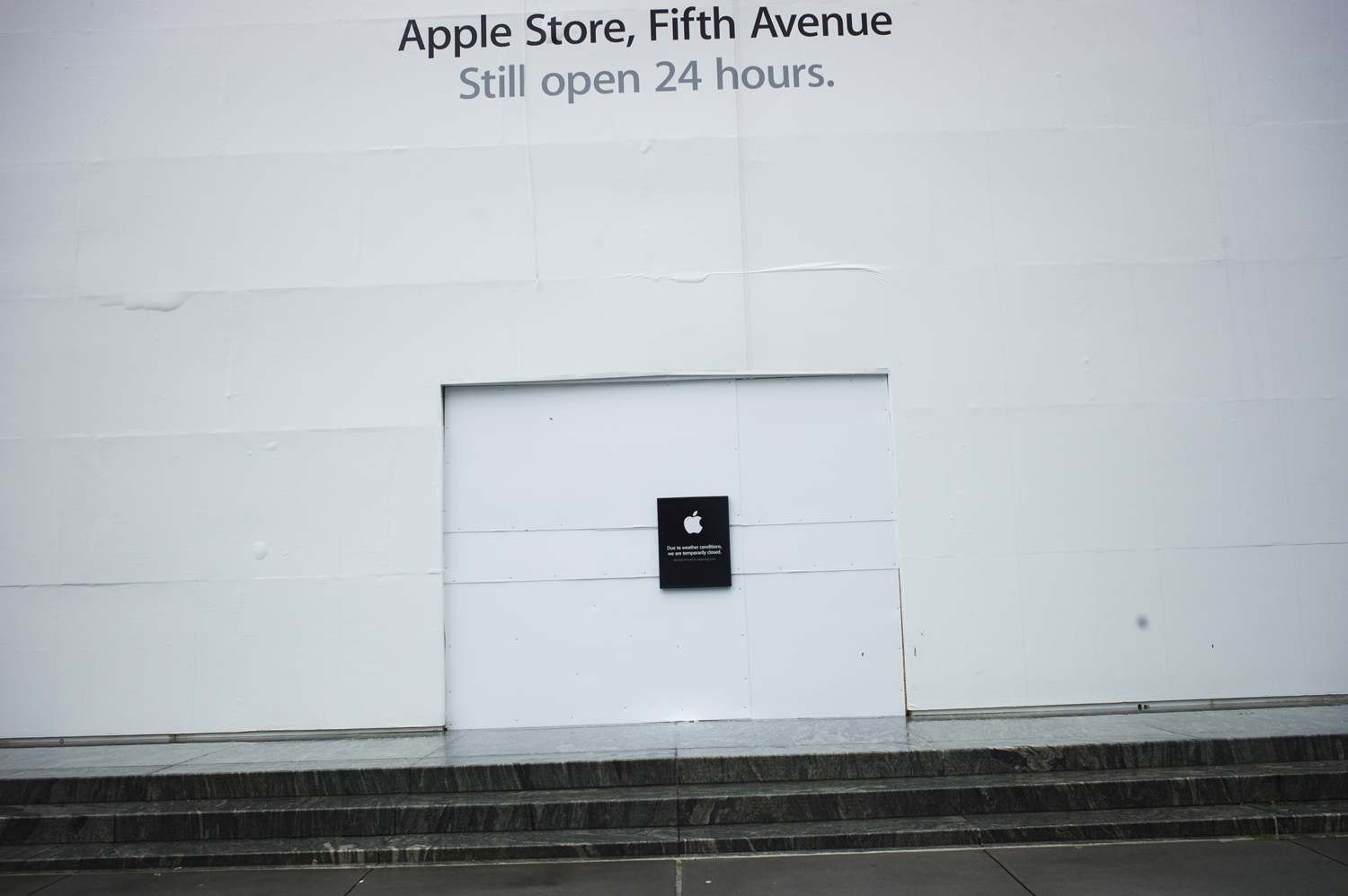 August 28, 2011, New York, NY. A sign outside of the boarded-up Apple store on Fifth Avenue.