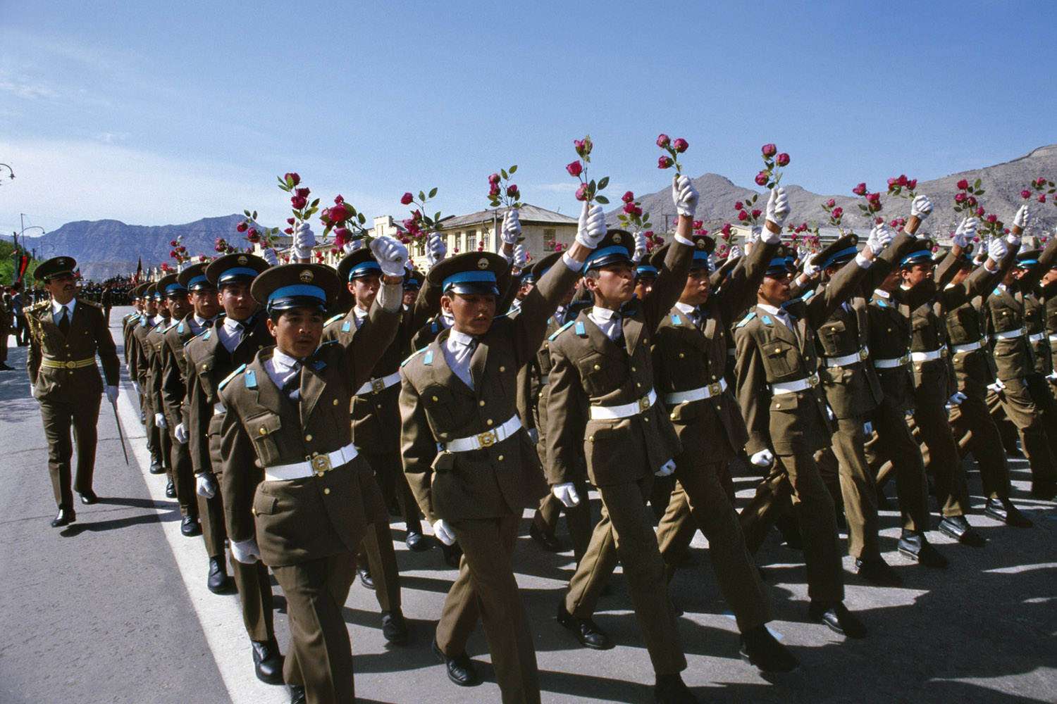 Afghan military cadets march in Kabul during the celebration of the 1974 Saur Revolution, the Afghan Communist Party's political takeover. February, 1989
