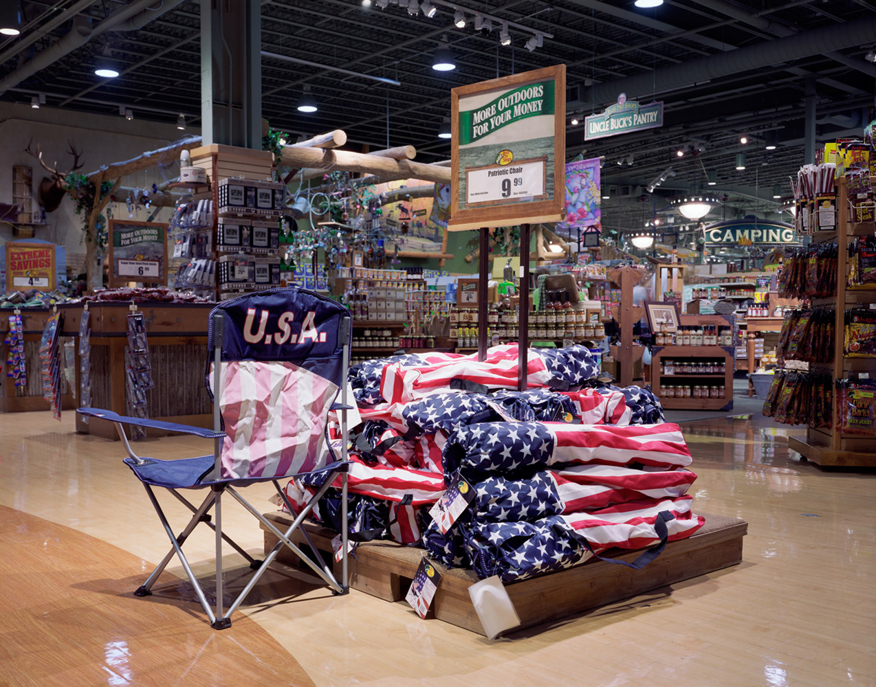 Gurnee, IL, 2005                                Also tied to political controversy, this was during the debate over the first flag-draped coffins returning from Iraq. It was incredulous to see this display so eerily mimicking that topic. Unrelated is the concept of the $9.99 price point, seemingly used for ideological goods.