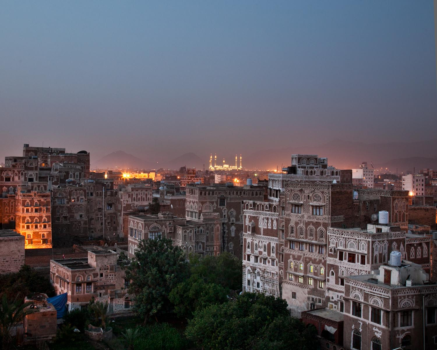 The sun begins to rise over Sana'a. August 2010.