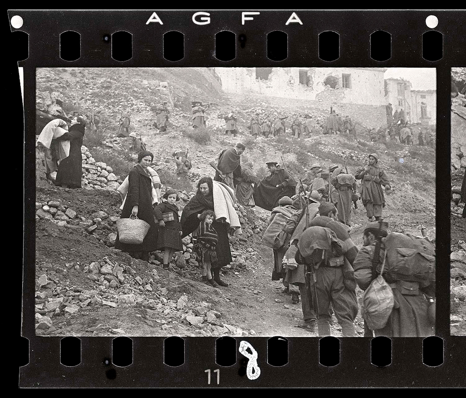 Refugees flee during the Battle of Teruel, Spain, December 1937