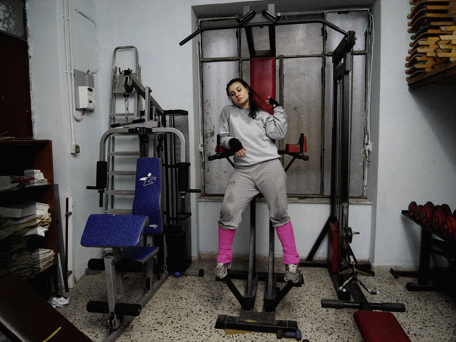 Excelsior Boxing Gym, Marcianise, Caserta. Italian boxing champion Viviana, 18 years old.