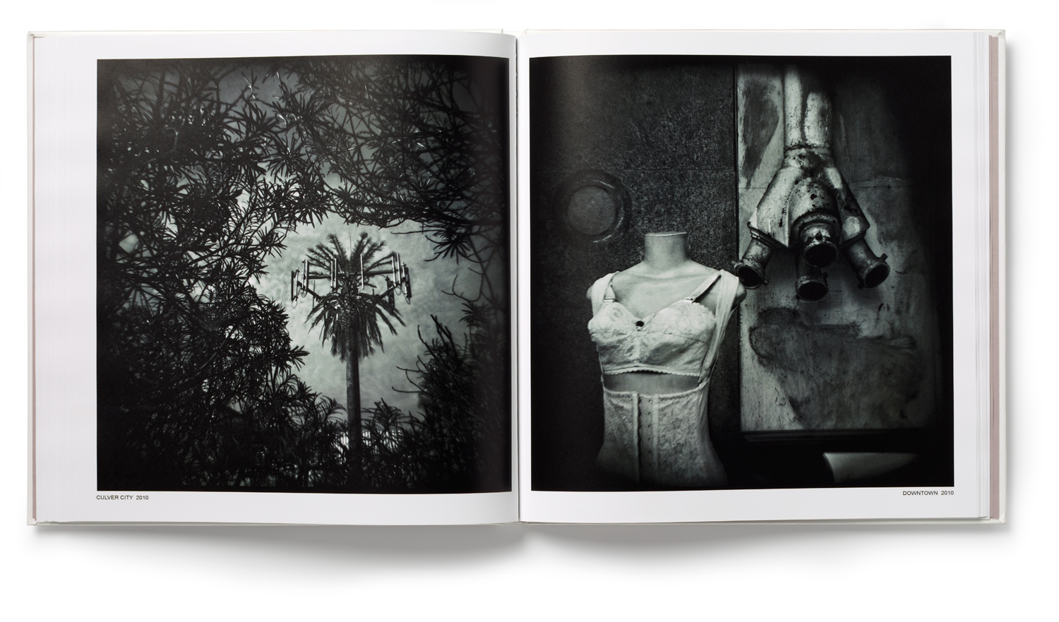 An inside spread from Thomas Michael Alleman's Sunshine & Noir: Photographs from Los Angeles. From left: Culver City and Downtown.