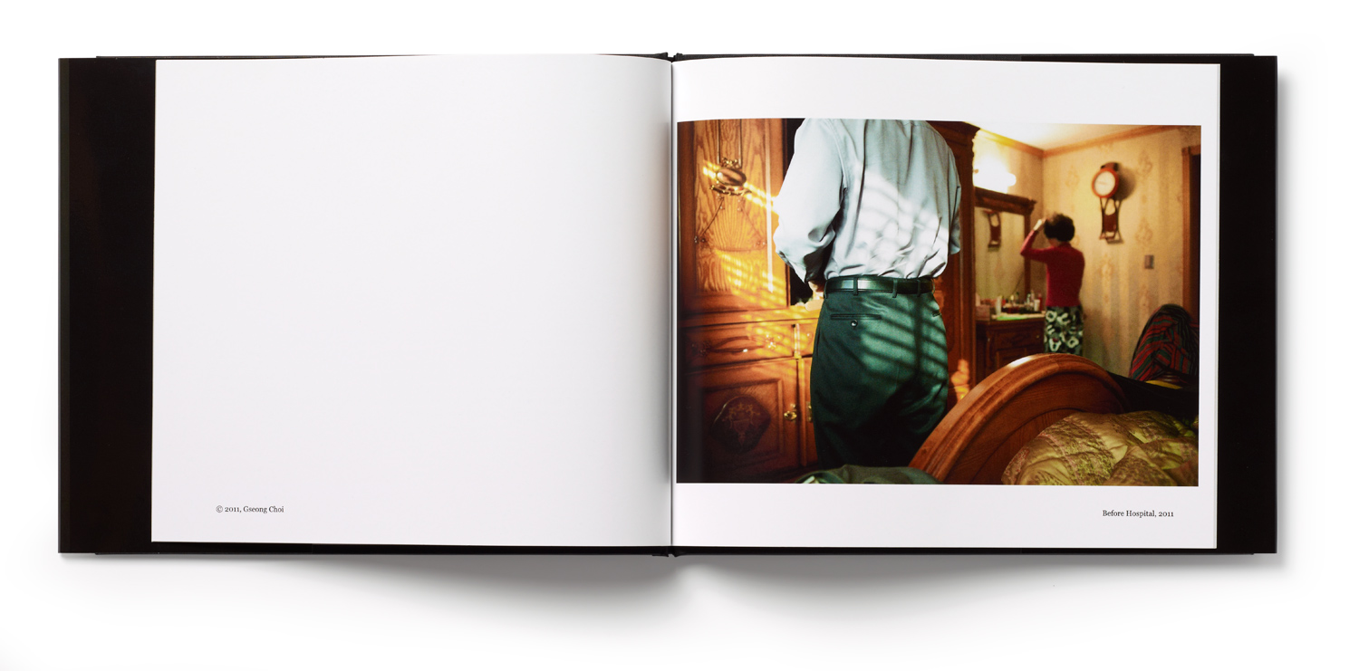 An inside spread showing Before Hospital, 2011 from Goseong Choi's book Umma which documents her grandmother's passing.