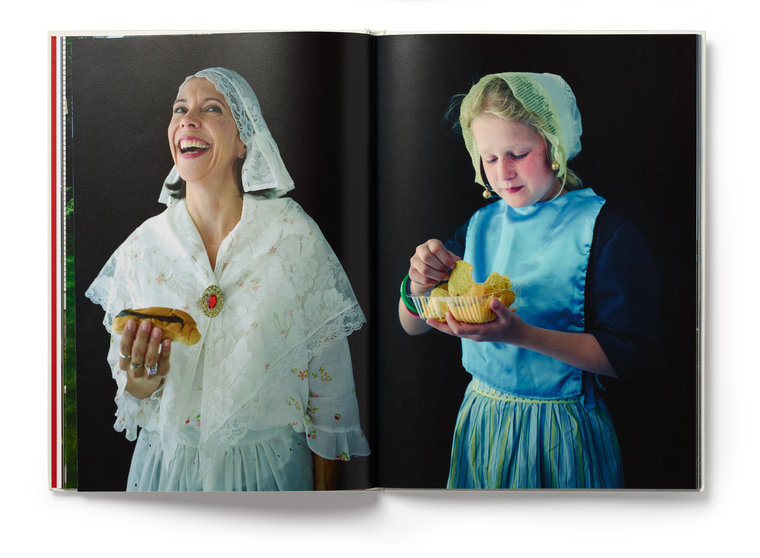Inside spread from Rene Clement's Promising Land a book documenting Orange City, Iowa and its Dutch roots. She say's,  I began this project by making a series of portraits in the tradition of the Dutch master painters, drawing upon their use of soft light and stark, black backgrounds.