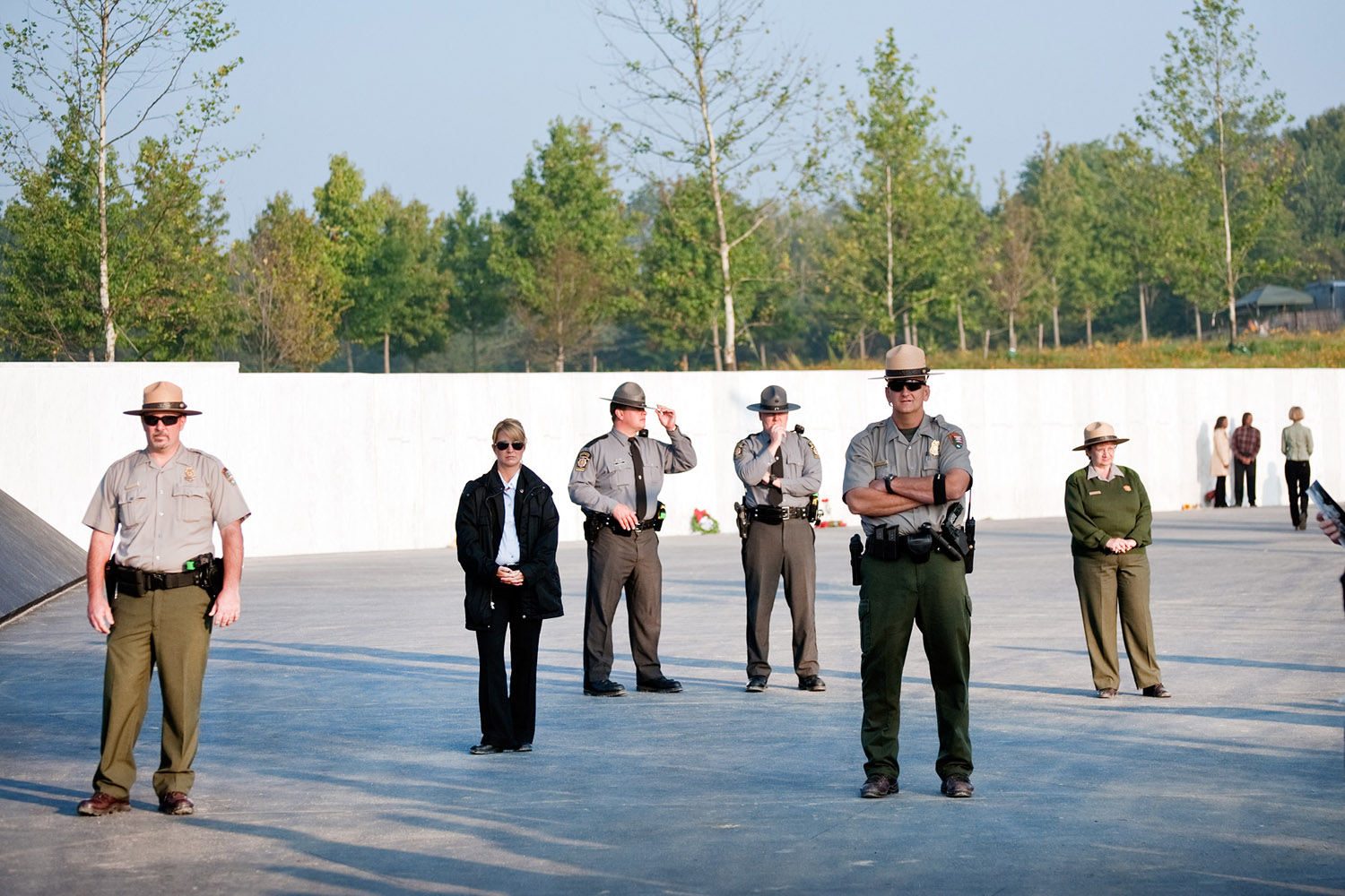 Local authorities stand guard at the Flight 93 National Memorial during the 10th anniversary of the terrorist attacks, Shanksville, Pa., Sept. 11, 2011.