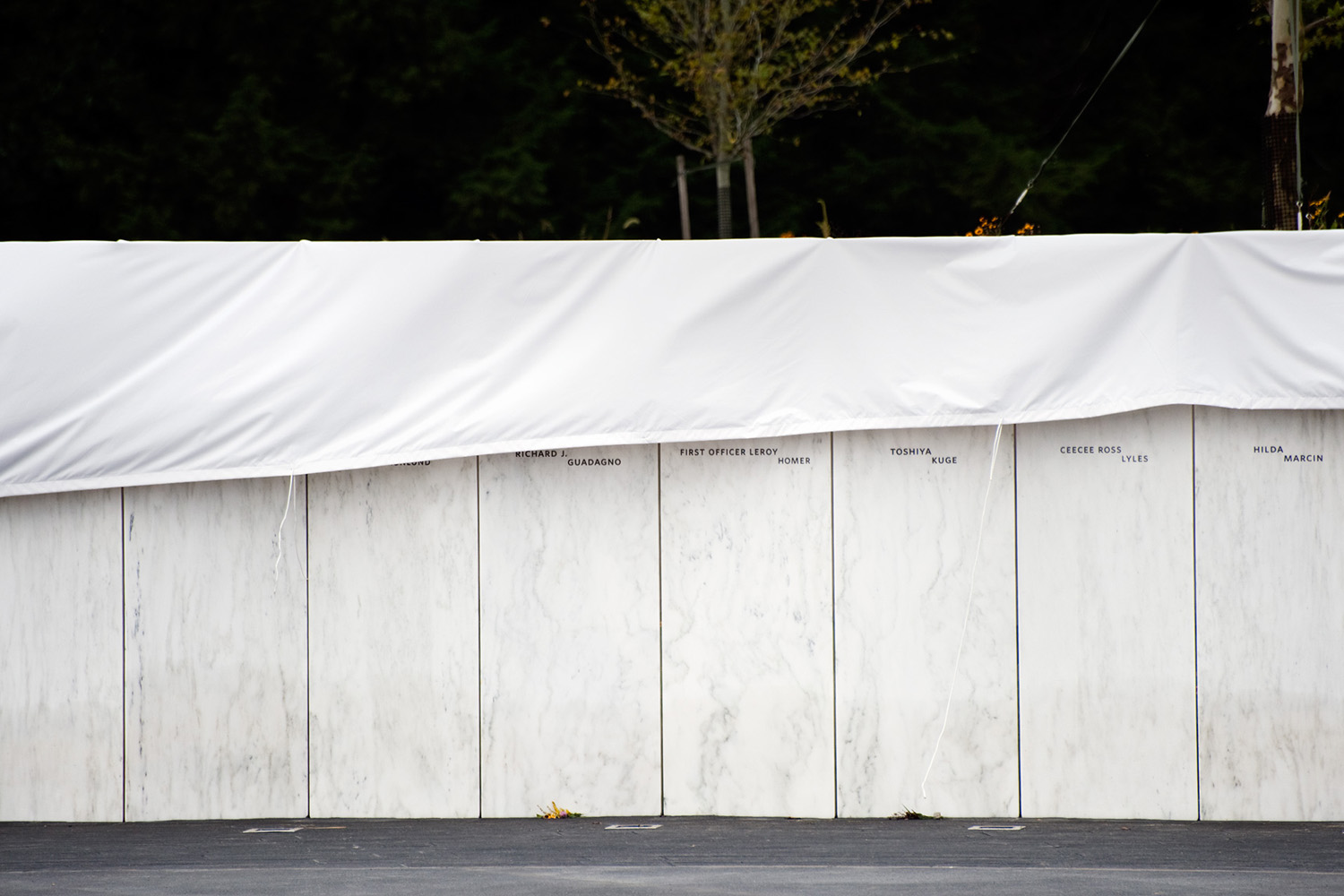 A day before the 10-year-anniversary of 9/11, a wall bearing the names of those who died on United Flight 93 are unveiled near the crash site in Shanksville, Pa., Sept. 10, 2011.