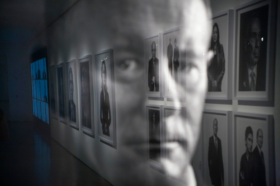 A reflection of TIME's Beyond 9/11: Portraits of Resilience exhibition on a photograph of William McRaven, Four-Star Admiral; Commander, U.S. Special Operations Command, at Milk Gallery in New York City, on view until October 7, 2011.