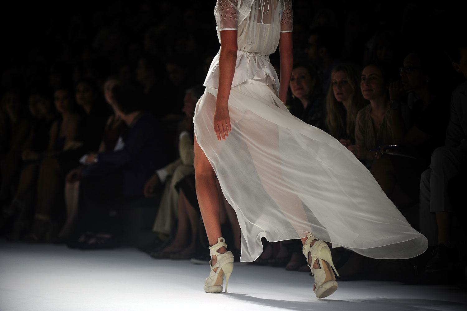 September 13, 2011. A model displays a creation by designer Vera Wang during the New York Mercedes-Benz Fashion Week Spring 2012, in New York.