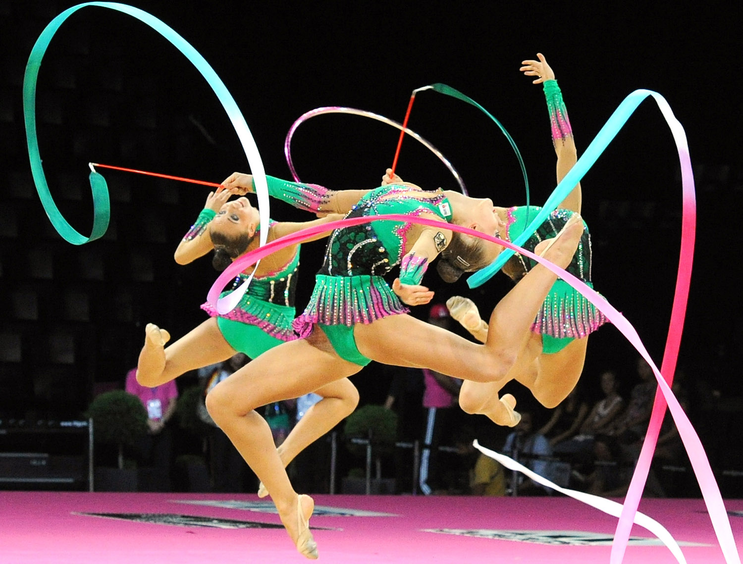 September 25, 2011. Team of Germany performs with the three Ribbons and two Hoops in the groups final competition of the 31st Rhythmic Gymnastics World Championships in Montpellier, southern France. Bulgaria won the gold medal, Italy the silver and Israel the bronze in the three Ribbons and two Hoops events.