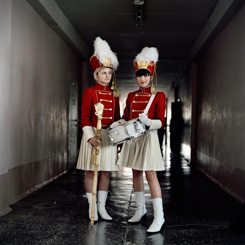 Girls wear their ceremonial drumming uniforms at the Ataman Platov Cossack Cadet school in Belaya Kalitva, Southern Russia.