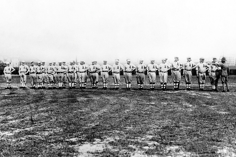 Philadelphia Athletics taking military instruction at Jacksonville, Florida, March 1917.