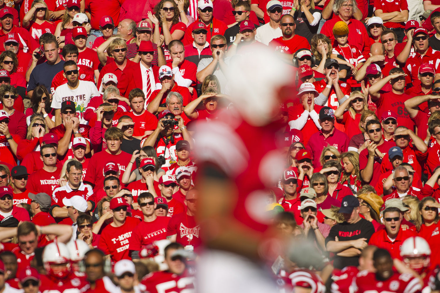 """The famous """"Sea of Red"""" made up of Husker fans, blankets Memorial Stadium during an October 2010 match in Lincoln, Nebraska."""