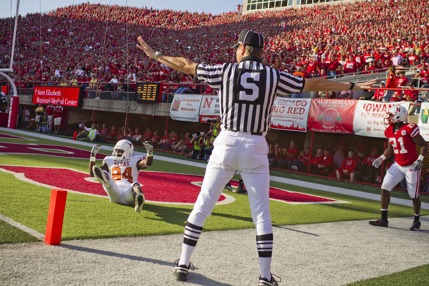 Husker cornerback Prince Amukarmara looks stunned as a penalty flag comes in from the far side of the field during an October 2010 game against the University of Texas.