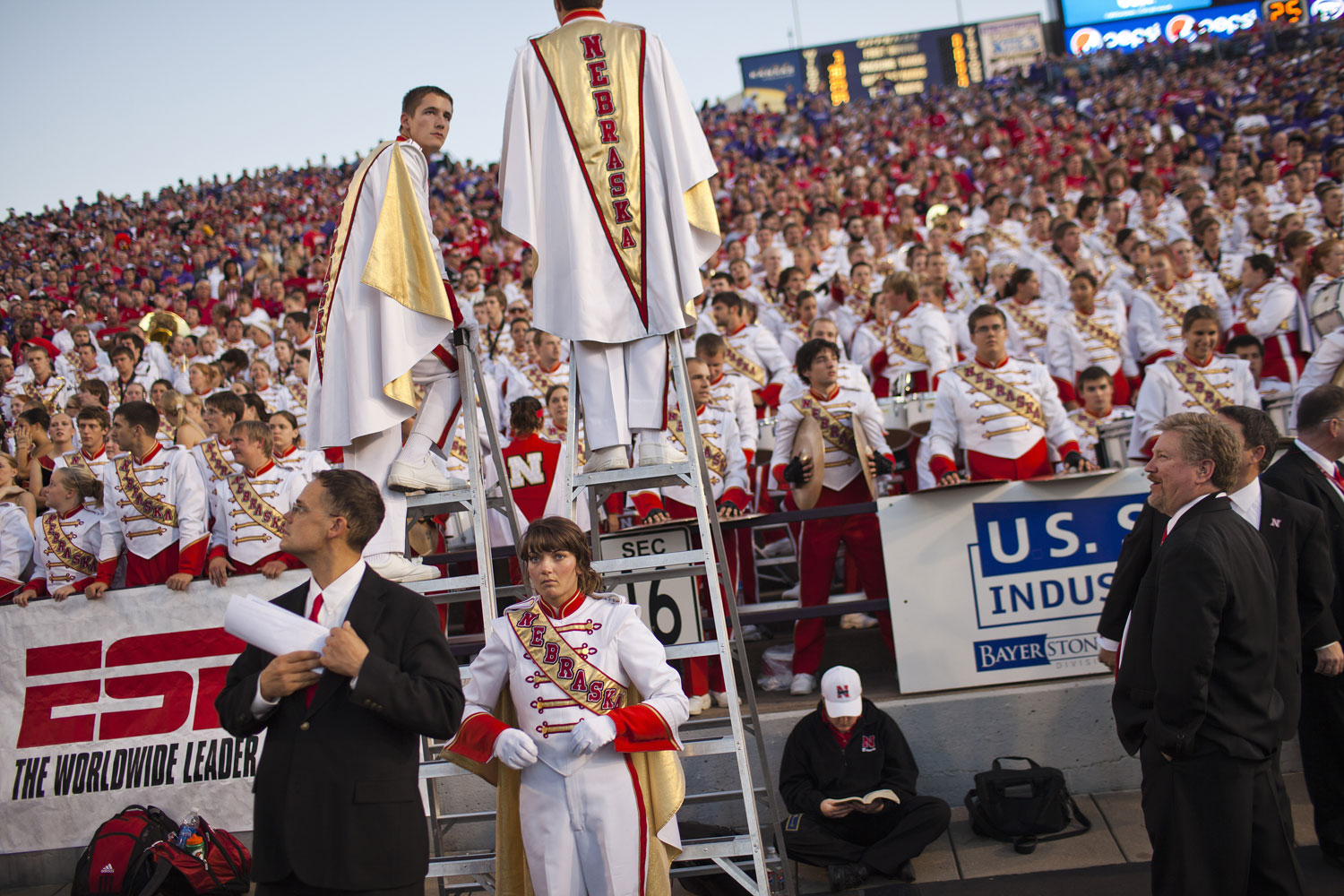 Nebraska's marching band prepares to play before the October 2010 Huskers game with Kansas State in Manhattan, Kansas.