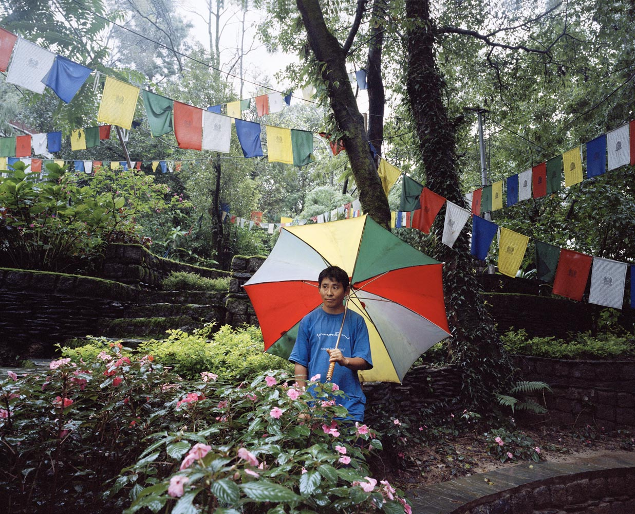 Lobsang Jhampa has been making Tibetan prayer flags for the last eight years in Dharamsala.