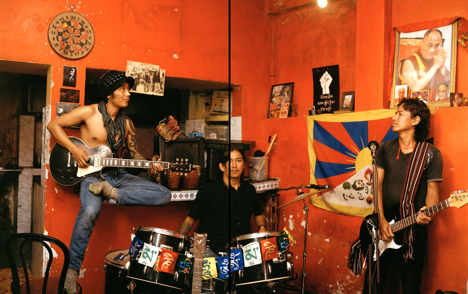 The JJI Exile Brothers, a Tibetan rock band based in Mcleodgunj, practice in the basement of their home for an upcoming performance.