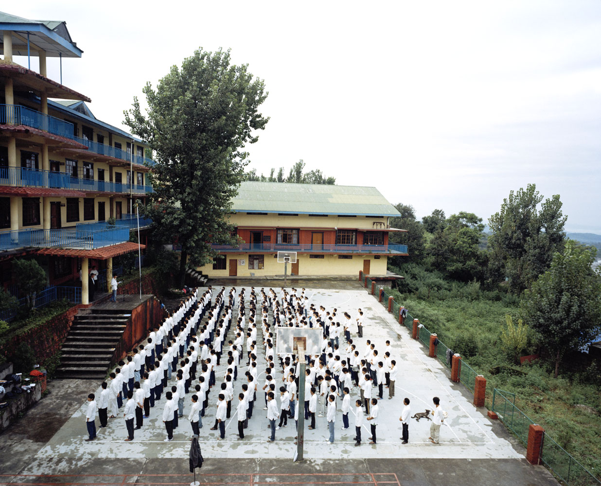 Students gather during the morning assembly at the Tibetan Transit School in Dharamsala.