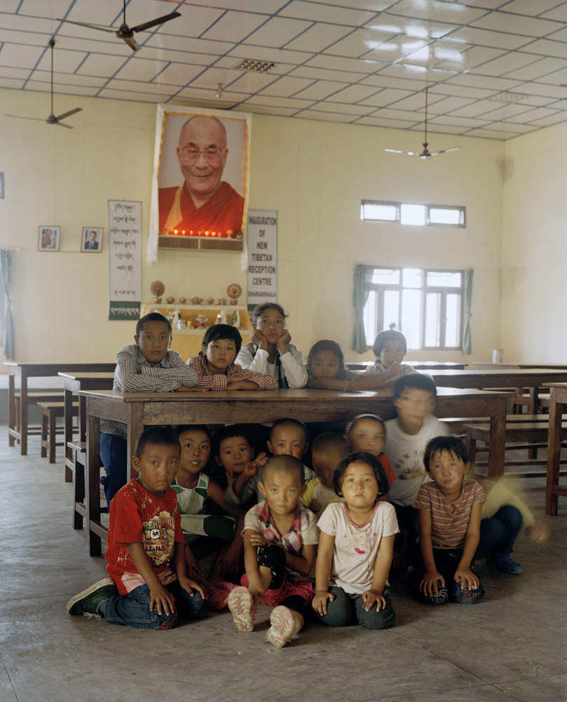 Children inside the dining hall at the Tibetan Reception Center in Dharamsala. Many of the children are recent arrivals from Tibet.